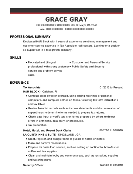 Tax Associate resume format Georgia