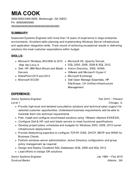 Senior Systems Engineer resume example Georgia