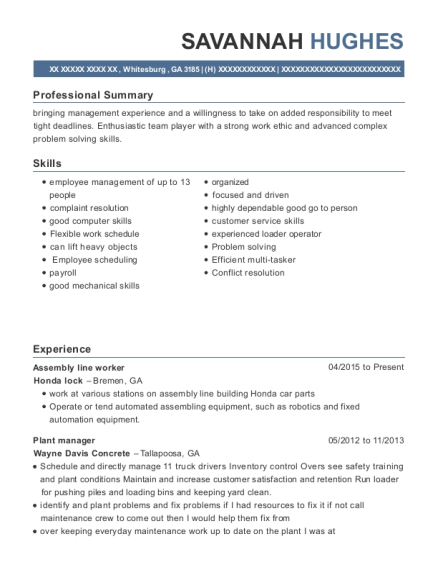 Assembly Line Worker resume example Georgia