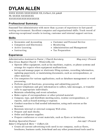 Administrative Assistant to Pastor resume template Georgia
