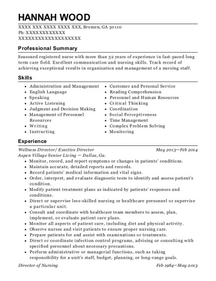Wellness Director resume format Georgia