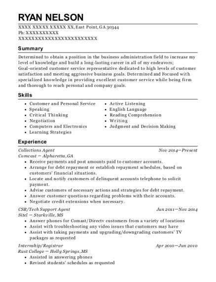 Collections Agent resume template Georgia