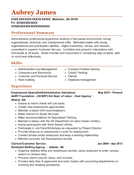 Employment Specialist resume example Georgia