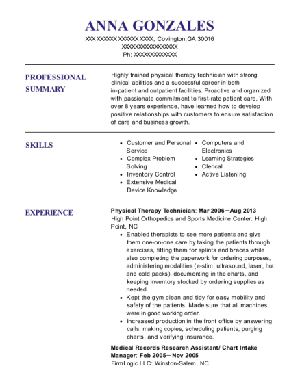 Physical Therapy Technician resume format Georgia