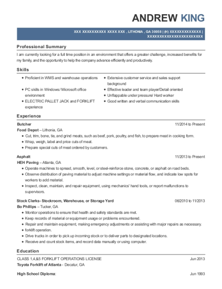 Butcher resume sample Georgia