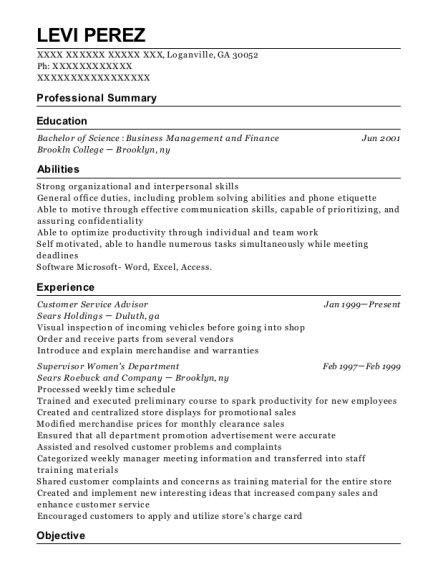 Customer Service Advisor resume example Georgia