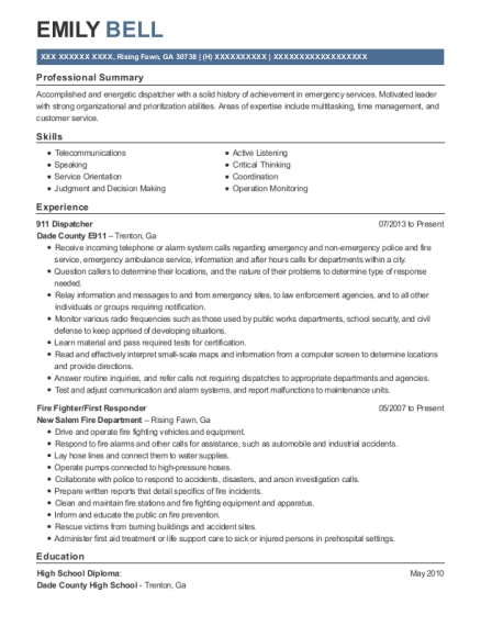 911 Dispatcher resume format Georgia
