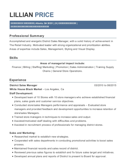 District Sales Manager resume format Georgia