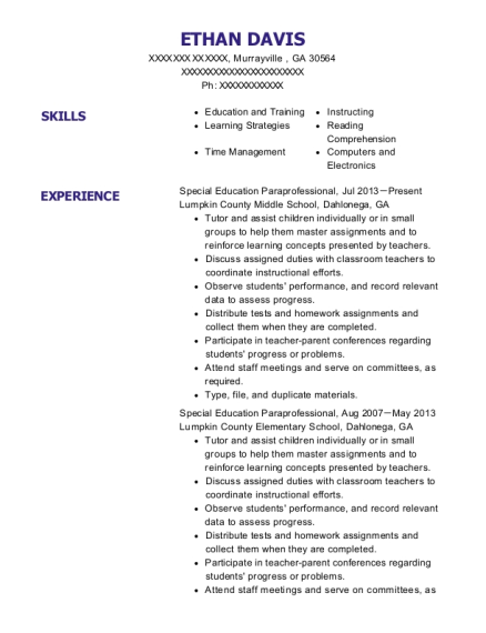 Special Education Paraprofessional resume format Georgia
