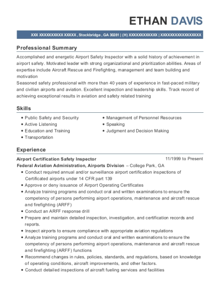 Airport Certification Safety Inspector resume format Georgia