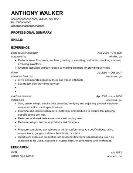 parts counter manager resume template Georgia
