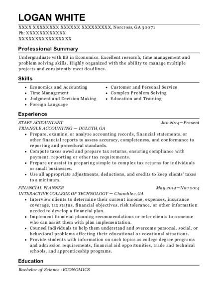 Staff Accountant resume format Georgia