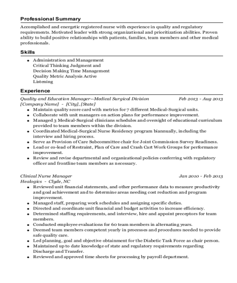 Quality and Education Manager Medical Surgical Division resume sample Georgia