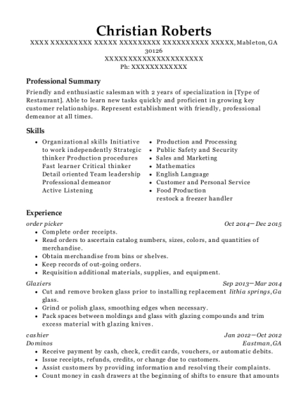 order picker resume format Georgia
