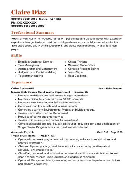 Office Assistant II resume template Georgia