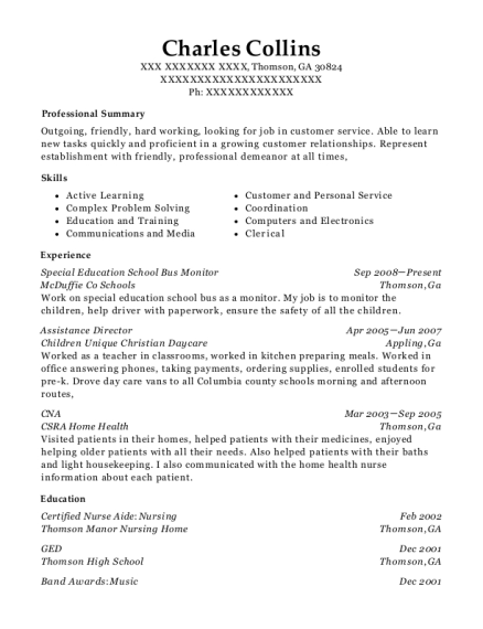 Special Education School Bus Monitor resume example Georgia