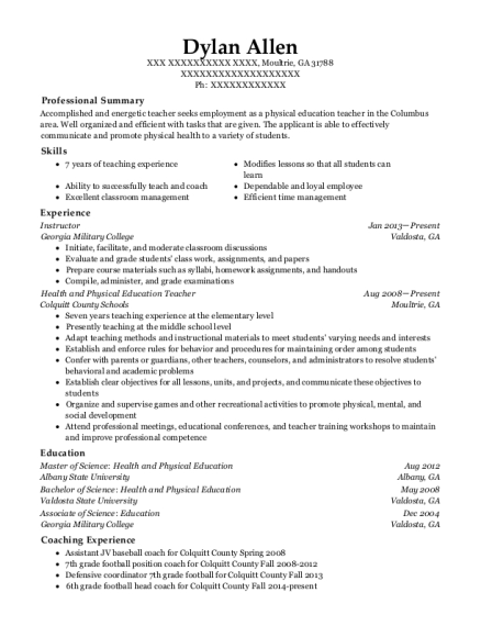 Instructor resume example Georgia