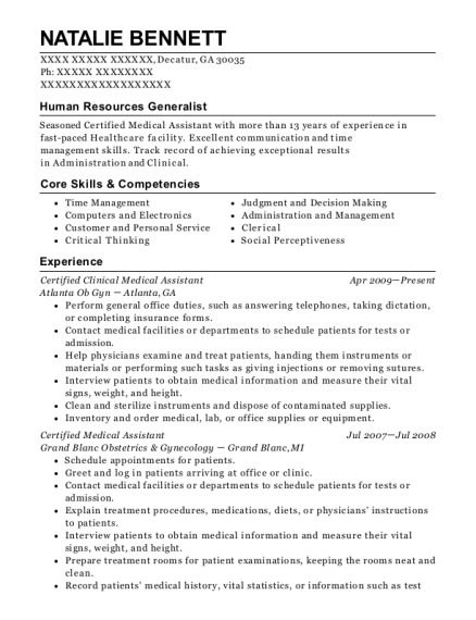 Certified Clinical Medical Assistant resume format Georgia