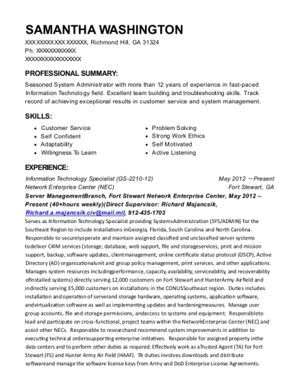 Information Technology Specialist resume sample Georgia