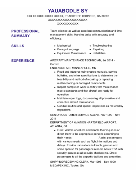 AIRCRAFT MAINTENANCE TECHNICIAN resume sample Georgia