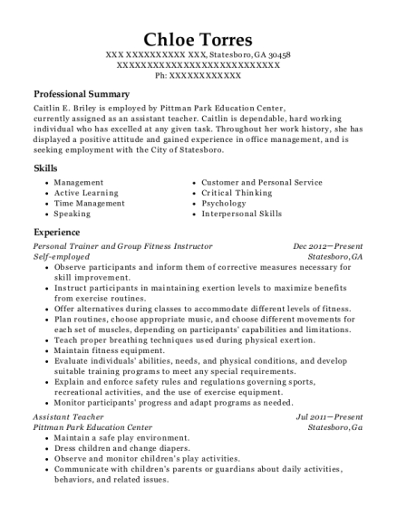 Personal Trainer and Group Fitness Instructor resume example Georgia