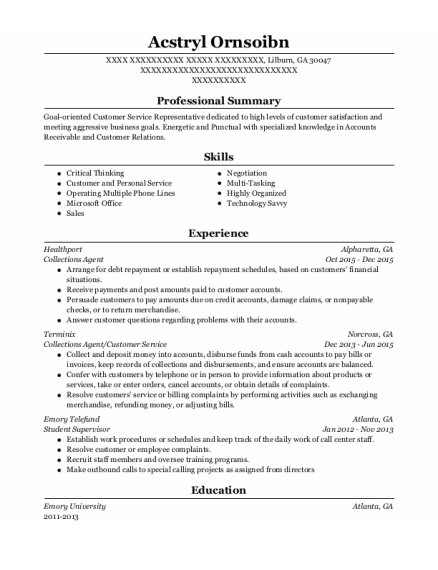 Collections Agent resume sample Georgia