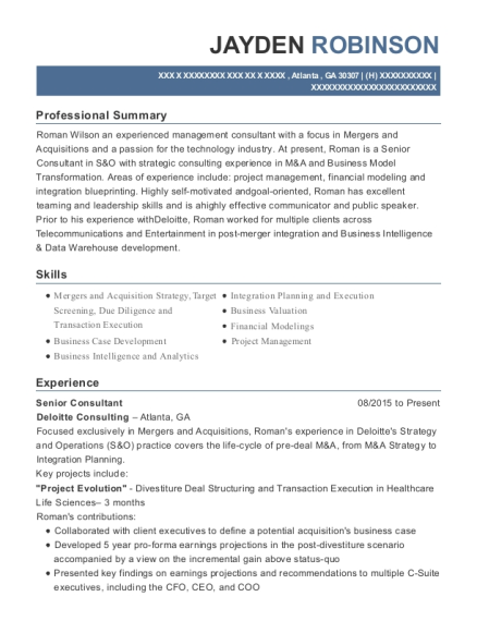 Senior Consultant resume template Georgia