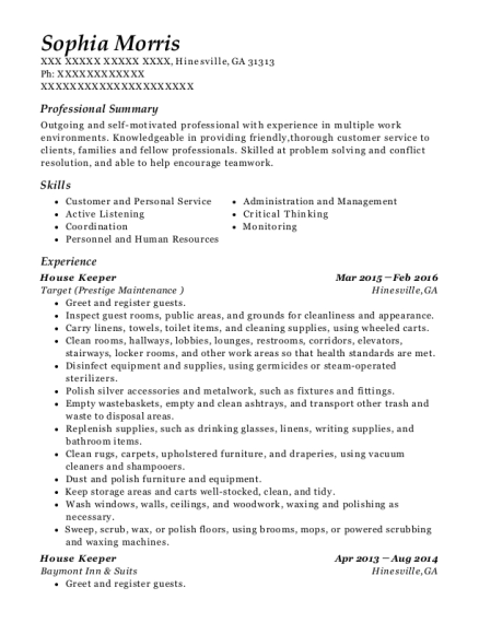 House Keeper resume sample Georgia
