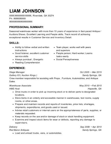 Stage Manager resume format Georgia