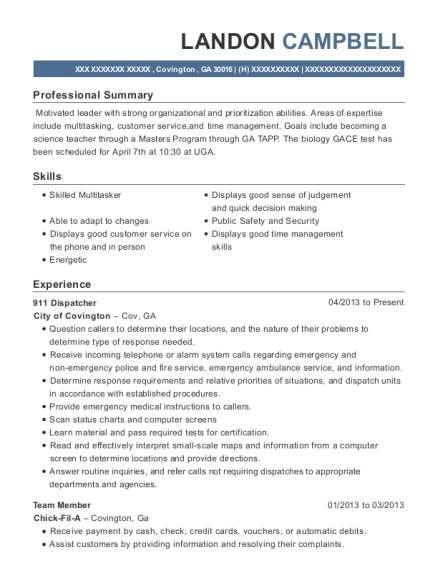 911 Dispatcher resume sample Georgia
