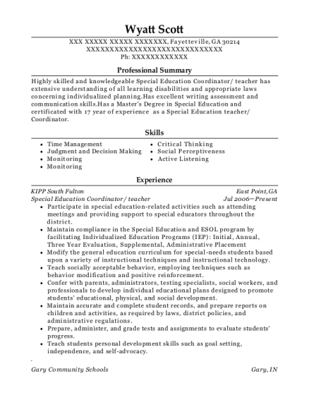 Special Education Coordinator resume template Georgia