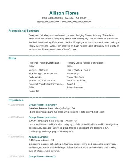 Group Fitness Instructor resume example Georgia