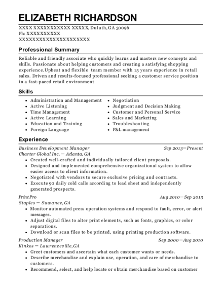 Business Development Manager resume sample Georgia