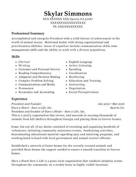 President and Founder resume format Georgia