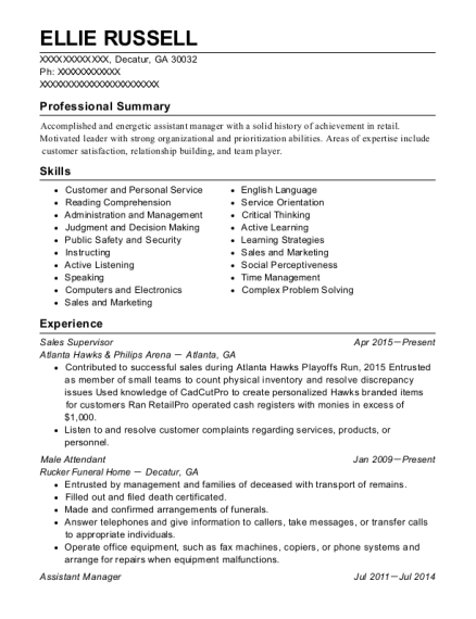 Sales Supervisor resume sample Georgia