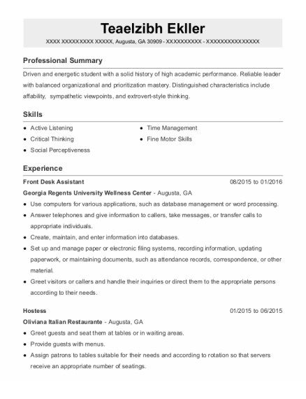 Front Desk Assistant resume example Georgia