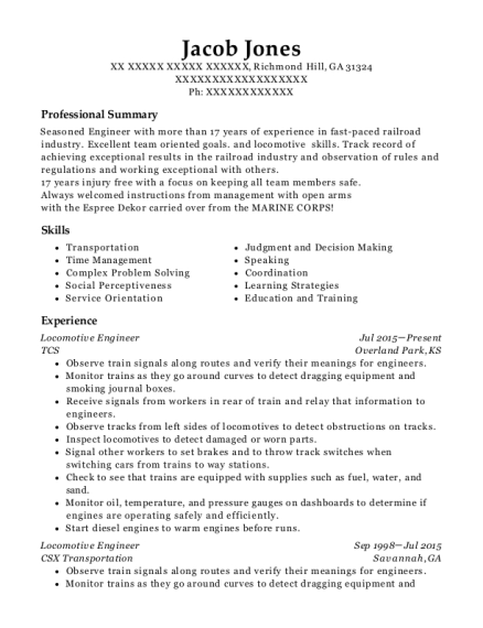 Locomotive Engineer resume sample Georgia