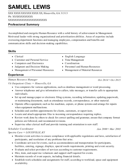 Human Resource Manager resume example Georgia