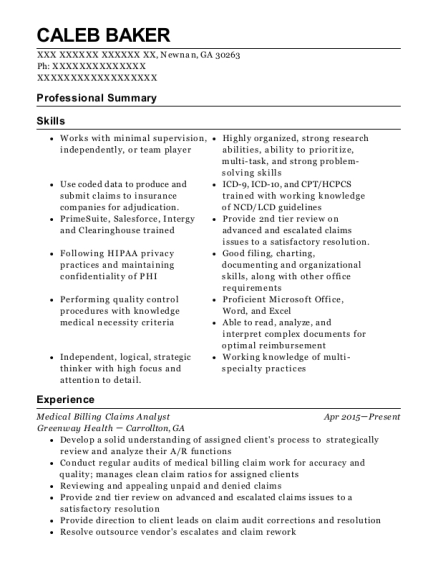 Medical Billing Claims Analyst resume example Georgia