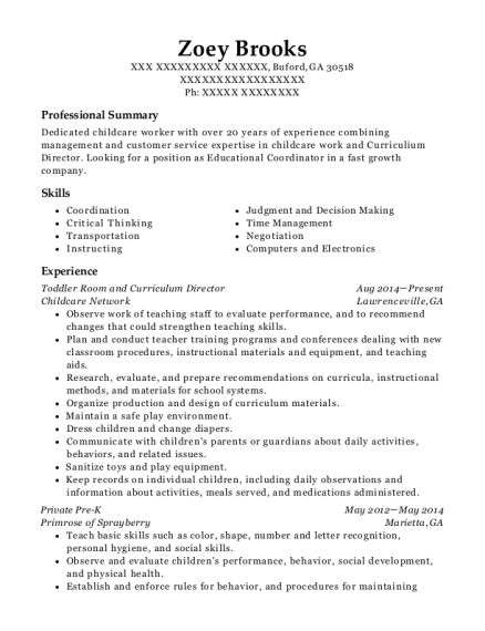 Toddler Room and Curriculum Director resume example Georgia