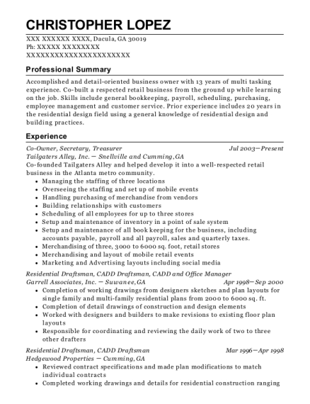 Co Owner resume example Georgia
