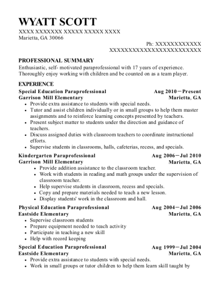 Special Education Paraprofessional resume sample Georgia