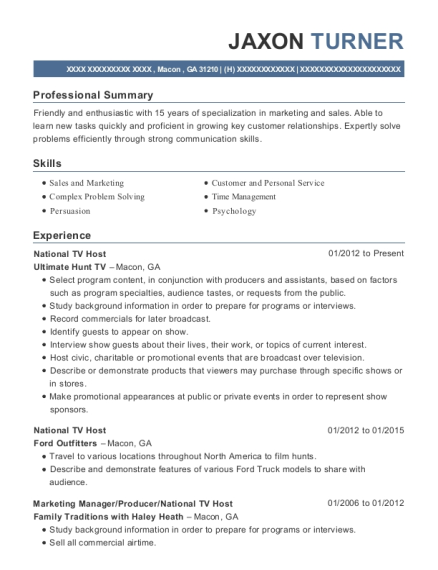 National TV Host resume sample Georgia