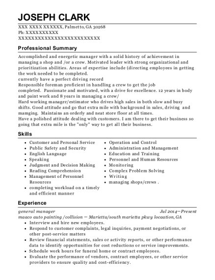 General Manager resume example Georgia