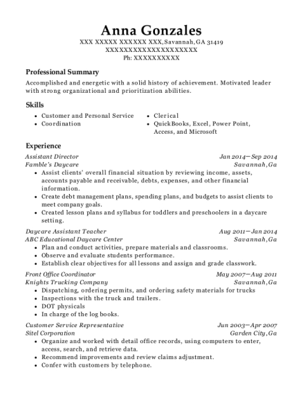 Assistant Director resume example Georgia