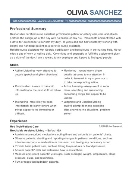 Med Tech resume format Georgia
