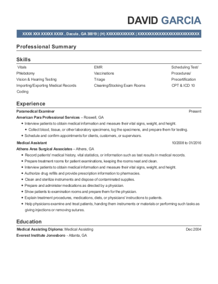 Paramedical Examiner resume sample Georgia