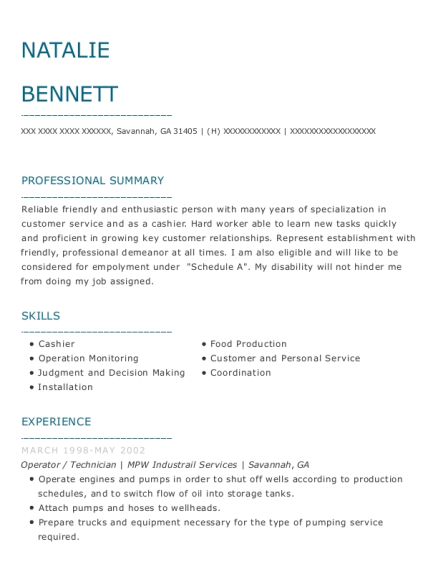 Operator resume sample Georgia