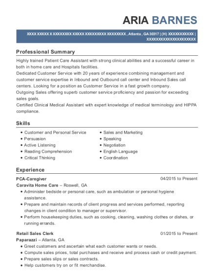 PCA Caregiver resume example Georgia