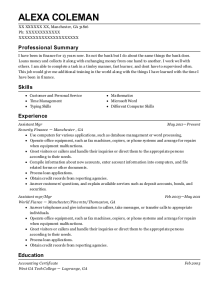 Assistant Mgr resume example Georgia